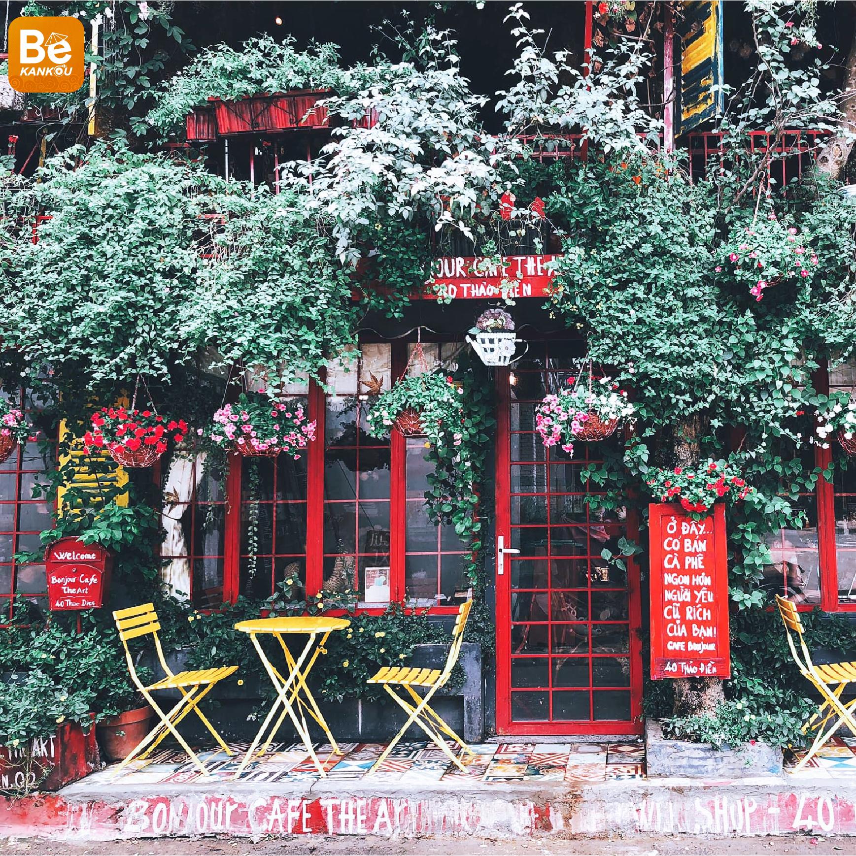 BONJOUR CAFE THE ART-サイゴンにおけるフランス国のような「百万本の花」というコーヒーショップ